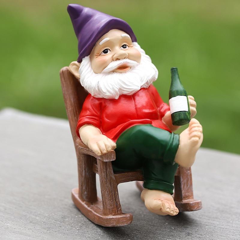 Gnome na Cadeira de Balanço Gnomos para Qualquer Quintal ao ar Jardim Decoração Livre Indoor Ornamento Casa