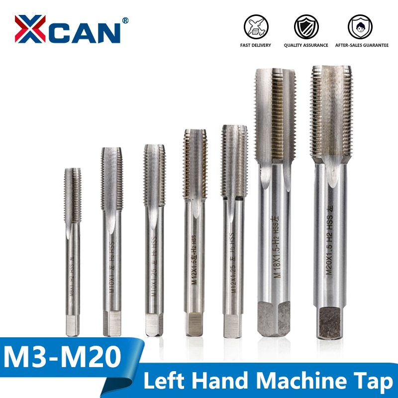 XCAN, 1 pieza, M3-M20 a la izquierda, máquina de rosca, grifo de acero HSS, máquina de enchufe, tornillo de Metal, taladro, tornillo métrico, rosca, grifo