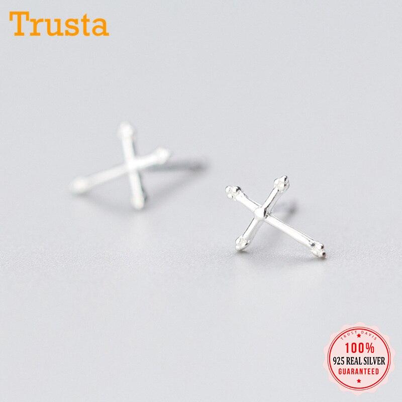 Trusta 2018 100%, joyería de plata de ley 925, pendientes de moda lindo pequeño de 10mm x 7mm, pendientes de cruz, regalo para niñas y niñas DS406