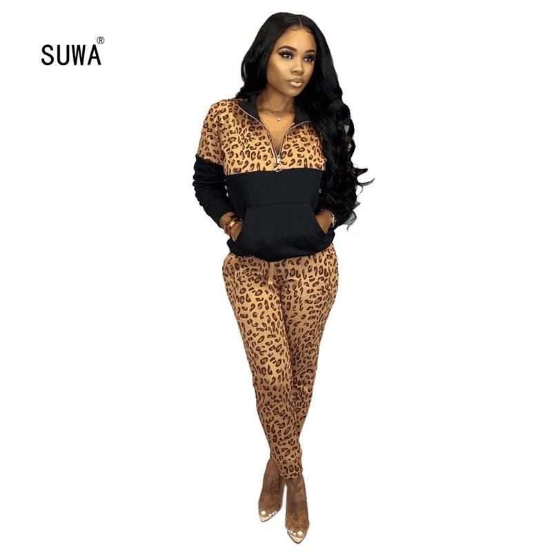Conjunto de 2 piezas empalmadas de leopardo, ropa elástica para mujer, Camiseta con bolsillo y pantalones de lápiz, chándal de 2 colores