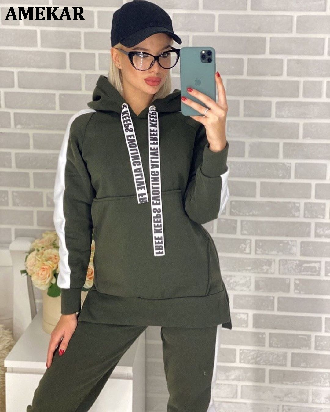 Hooded Tracksuit Women Two Piece Set Autumn Winter Clothes Side Striped Hoodies Sweatshirt Top + Pan
