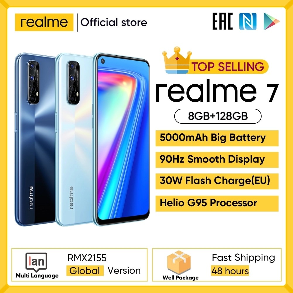 Realme 7 Global Version Cell Phones Unlocked 30W Fast Charge Smartphone 8GB RAM 128GB ROM Mobile Pho