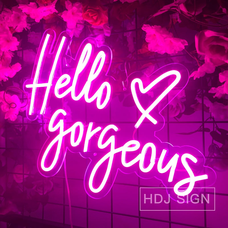 مرحبا رائع شعار نيون مخصص البصرية الفن وحدة إضاءة LED جداريّة ديكور لشريط نادي مخزن الديكور ضوء النيون تسجيل