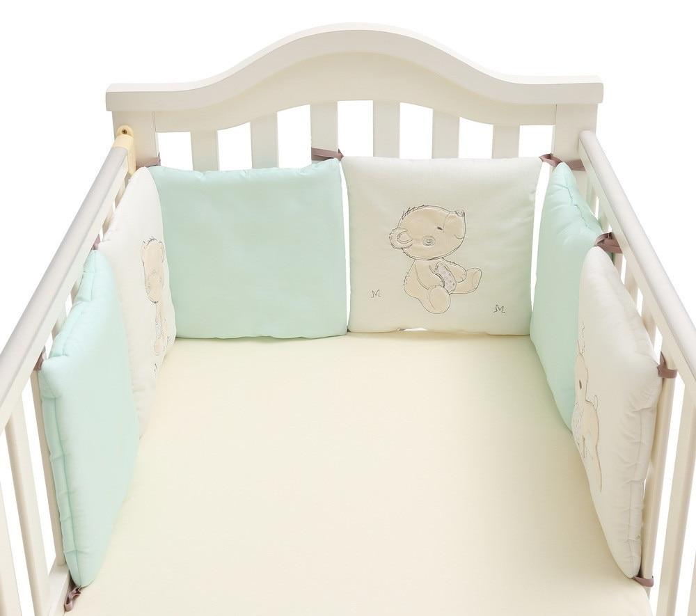 бортики в кроватку 6 шт. Детские кроватки Постельное белье Бамперы хлопок младенческой кроватки сторон спинки протектор кровать новорождён...