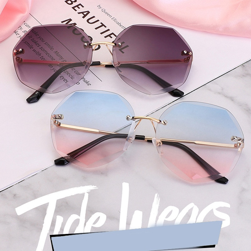 2021 Vintage Fashion Gradient Sunglasses Women Ocean Water Cut Trimmed Lens Diamond Round Temples Su
