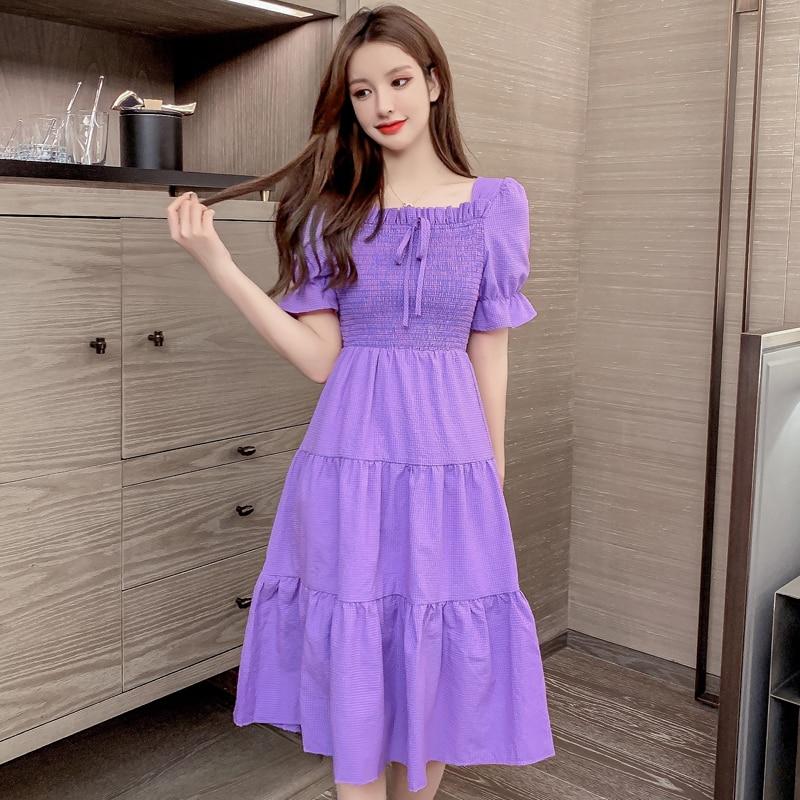 Summer 2021 New Korean Style French Purple Platycodon Grandiflorum Waist Slimming Temperament Short