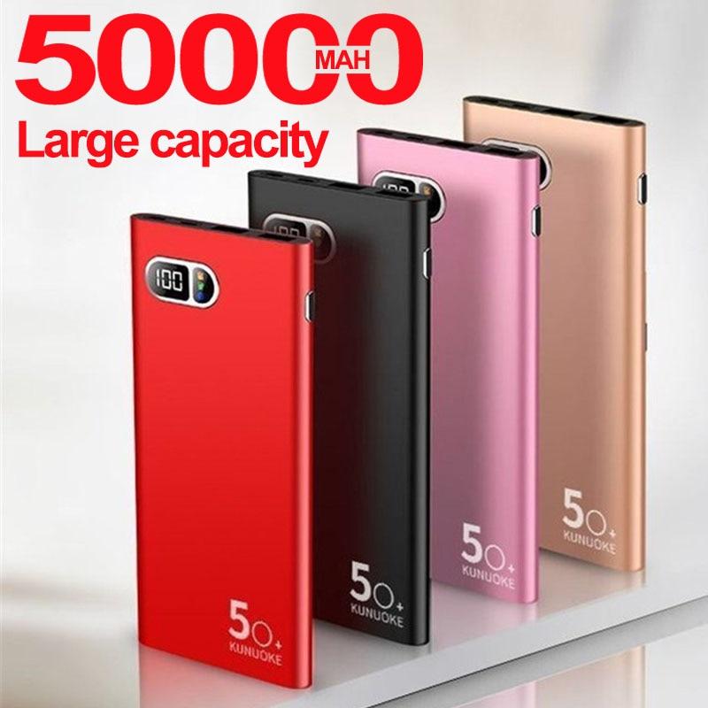50000mah banco de potência grande capacidade 2 usb display digital carregador do telefone ao ar livre para xiaomi samsung iphone portátil powerbank