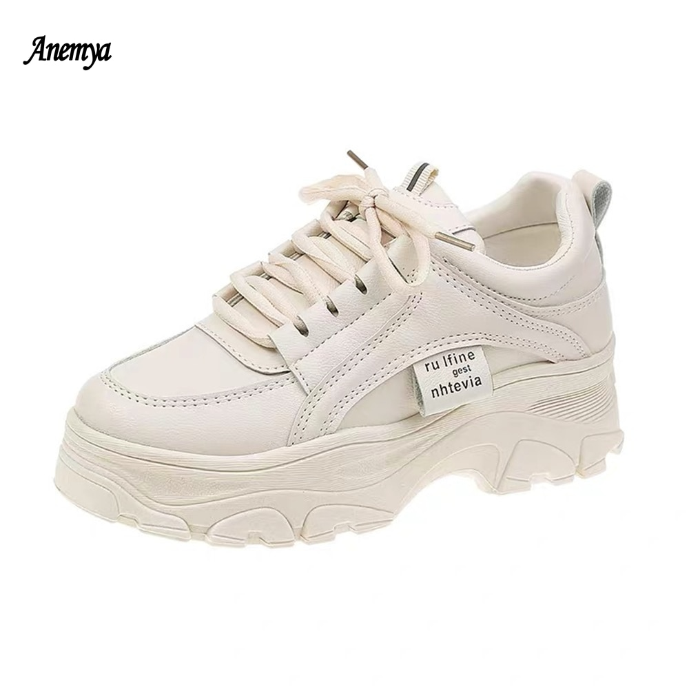 2021 New Spring Fashion Women's Shoes White Platform Casual Sneakers Women Breathable Lace Up Vulcanized Shoes Female Beige 40