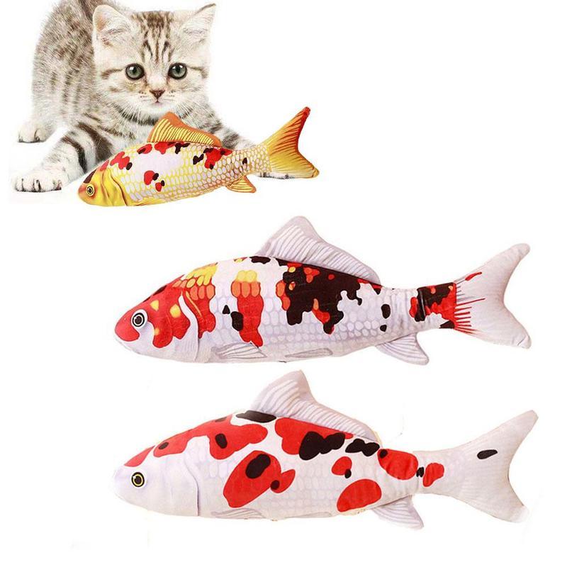 1 pieza de juguete creativo para gatos, Catnip relleno, pez Koi, juguete interactivo para masticar gatitos, producto de almohada con pez Koi simulado, suministros para gatos
