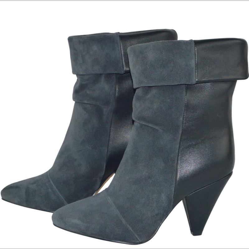 المرأة الشتاء جلد طبيعي الكاحل الأحذية سيدة سبايك الكعوب الأحذية الجلدية الجلد المدبوغ هامش العمل الأحذية عارضة كاوبوي motorc الأحذية