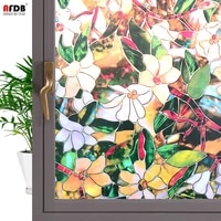 3d stained flowers pattern window film privacy glass vinyl insulation self adhesive film uv protective window stickers for home