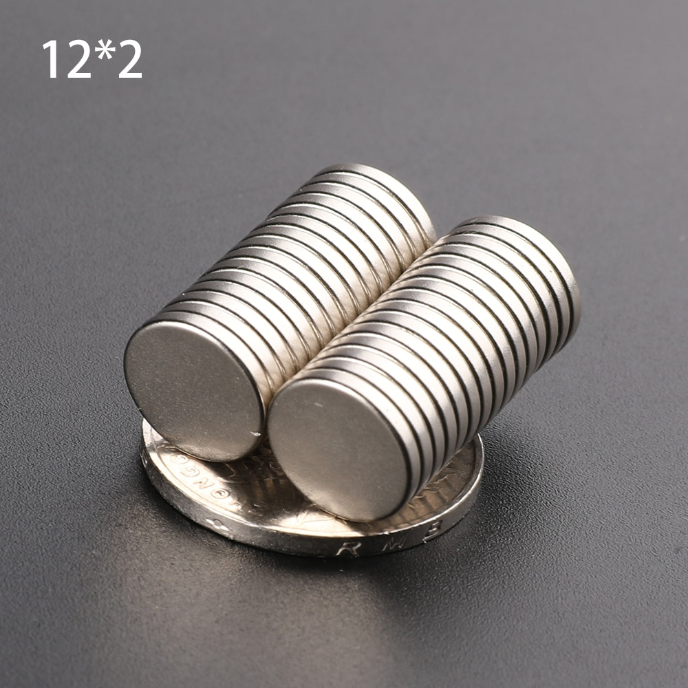 Неодимовый магнит, Круглый, NdFeB, лист супермощный, сильный постоянный магнит Imanes, обработка дисков, постоянный магнит, 12 х2 мм