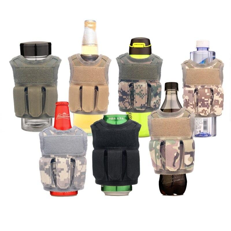 Funda para botella de cerveza táctica militar Mini Molle chaleco botella Personal bebida conjunto ajustable hombro Correa ciudad Jogging bolsas