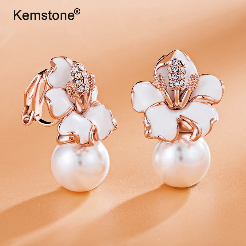Женские серьги-клипсы с искусственным жемчугом Kemstone, розовое золото, серебро, ювелирное изделие