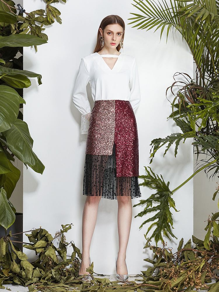 Women's Sexy Party Stitching Pink Skirt,Designer Style Skirt for Ladies
