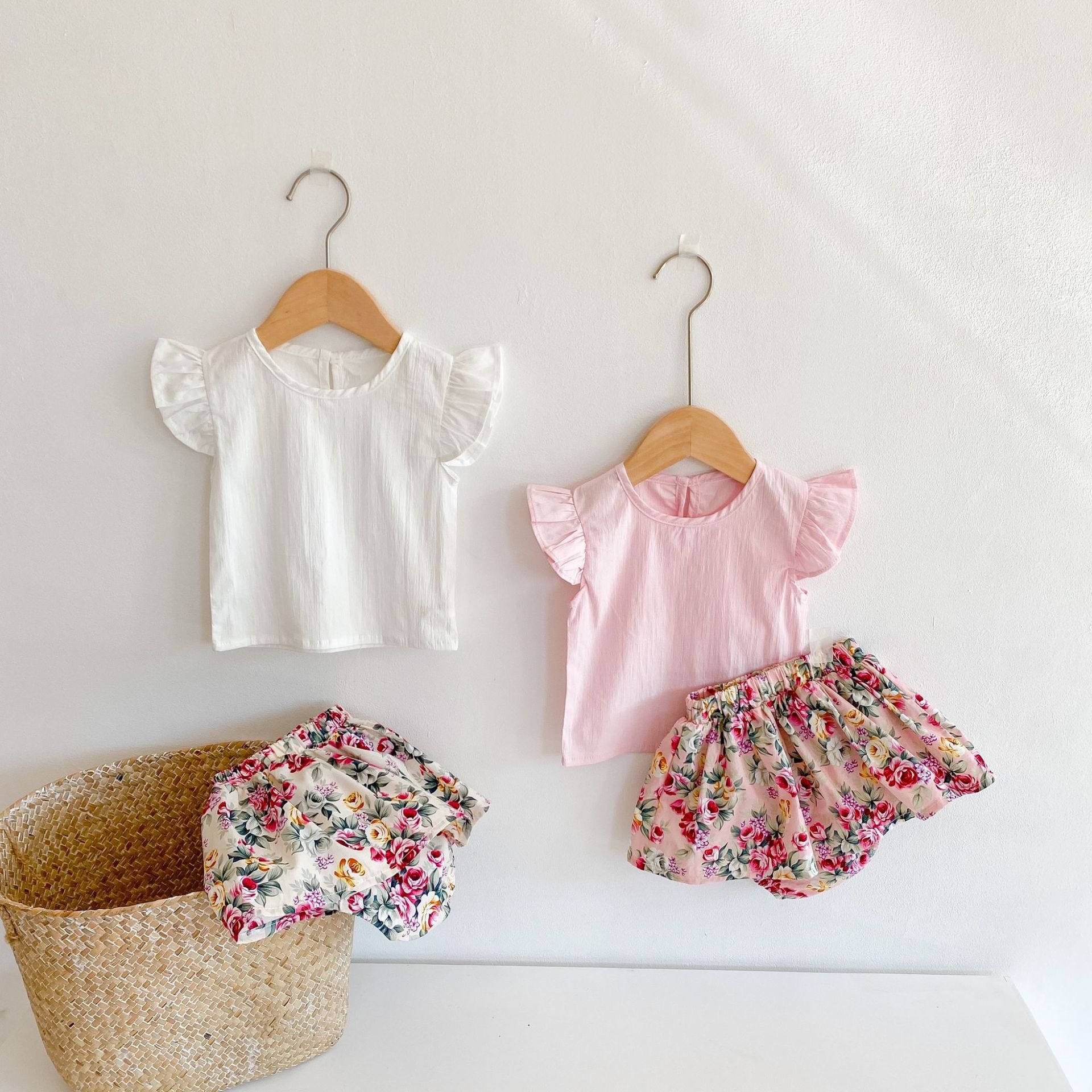 Yg brand children's clothing 2021 spring and summer new baby girl printed skirt cotton flying sleeve shirt children's suit