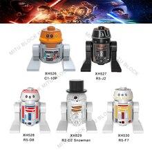 Única venda star wars C1-10P R5-J2 R5-D8 R2-D2 boneco de neve darth vader conde dooku darth maul capitão rex starwars bloco de construção