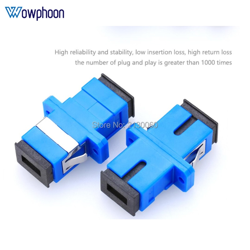 50/100/200/500 Uds SC adaptador UPC conector simple de modo único de plástico SM adaptador de fibra óptica 0.3dB ¡envío gratis