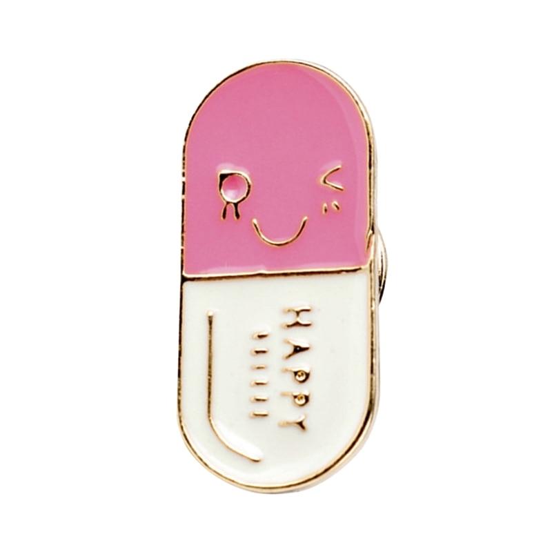 Happ ~ y píldora esmalte pin medicina creativa insignia cara sonriente broche texto 100mg lindos pines doctor enfermera farmacéutico regalo