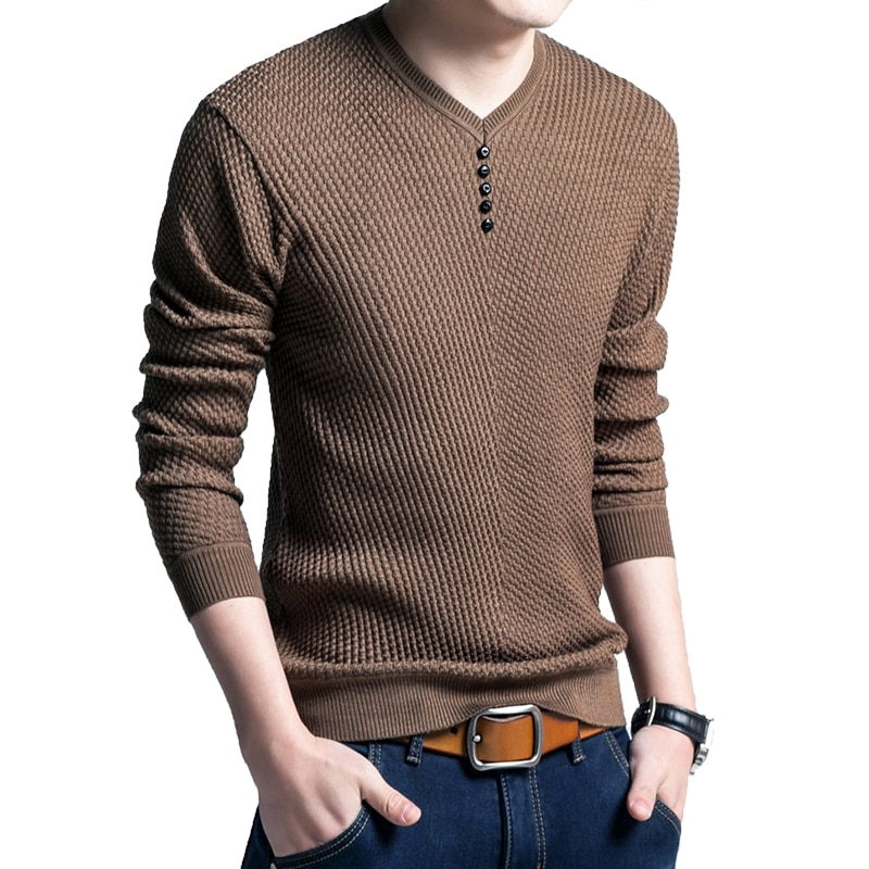 CYSINCOS Sweater para hombre Casual cuello en V Pullover para hombre otoño camisa delgada de manga larga suéteres para hombre de punto de lana de Cachemira Pull Homme