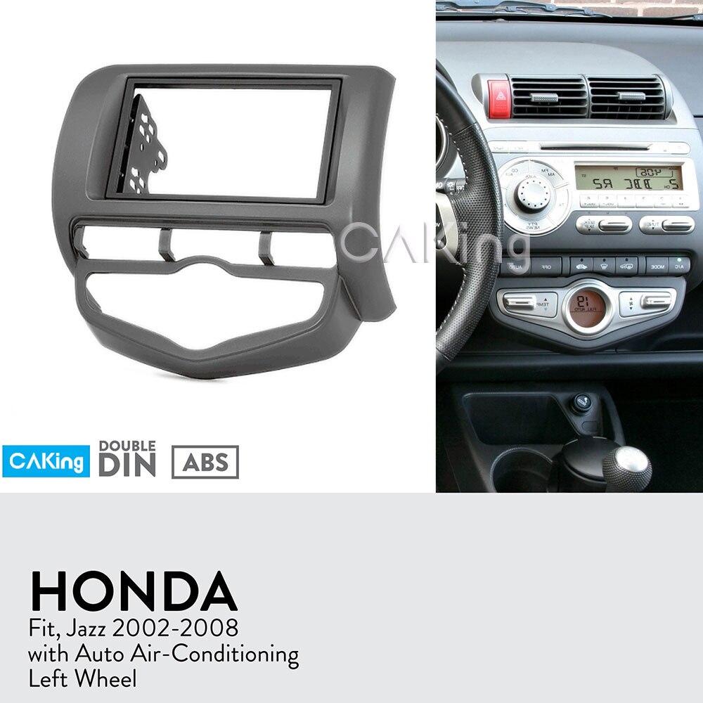 Panel de Radio Fascia de coche para Honda Fit, Jazz 2002-2008 (aire acondicionado automático/rueda izquierda) Kit de tablero instalar cubierta adaptadora de bisel de placa Facia
