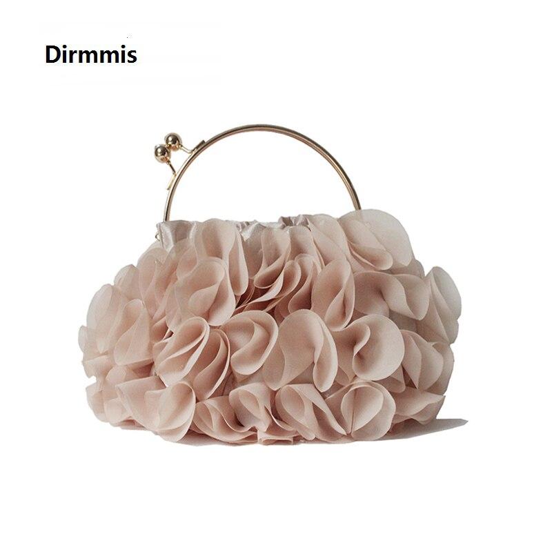 Bolsas nova Marca de Moda Das Mulheres Flor Bonito Saco Sacos de Luxo Champanhe Noiva Floral Totes Sólida Bonito Na Moda Casual Dia Embreagem