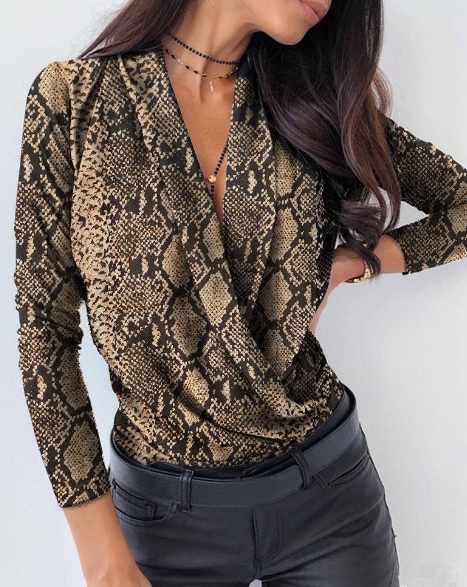 Sexy Deep Tops con cuello en V estampado elegante Oficina señoras pulóver camisa Casual mujeres Otoño Invierno manga larga Tops Blusas Streetwear