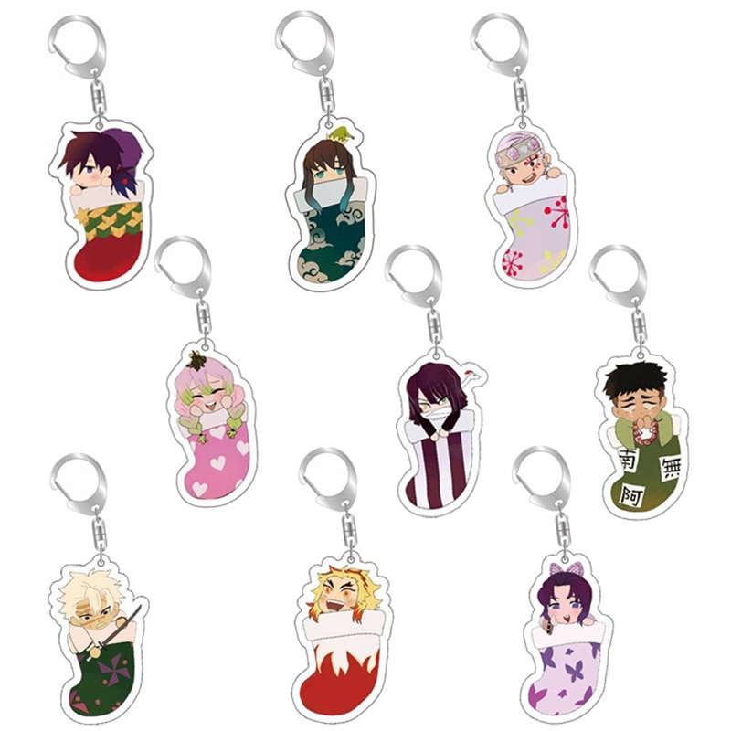 Anime Demon Slayer Kimetsu No Yaiba Key Chains Roles In Sock Keychain Cosplay Acrylic Pendant Keyring