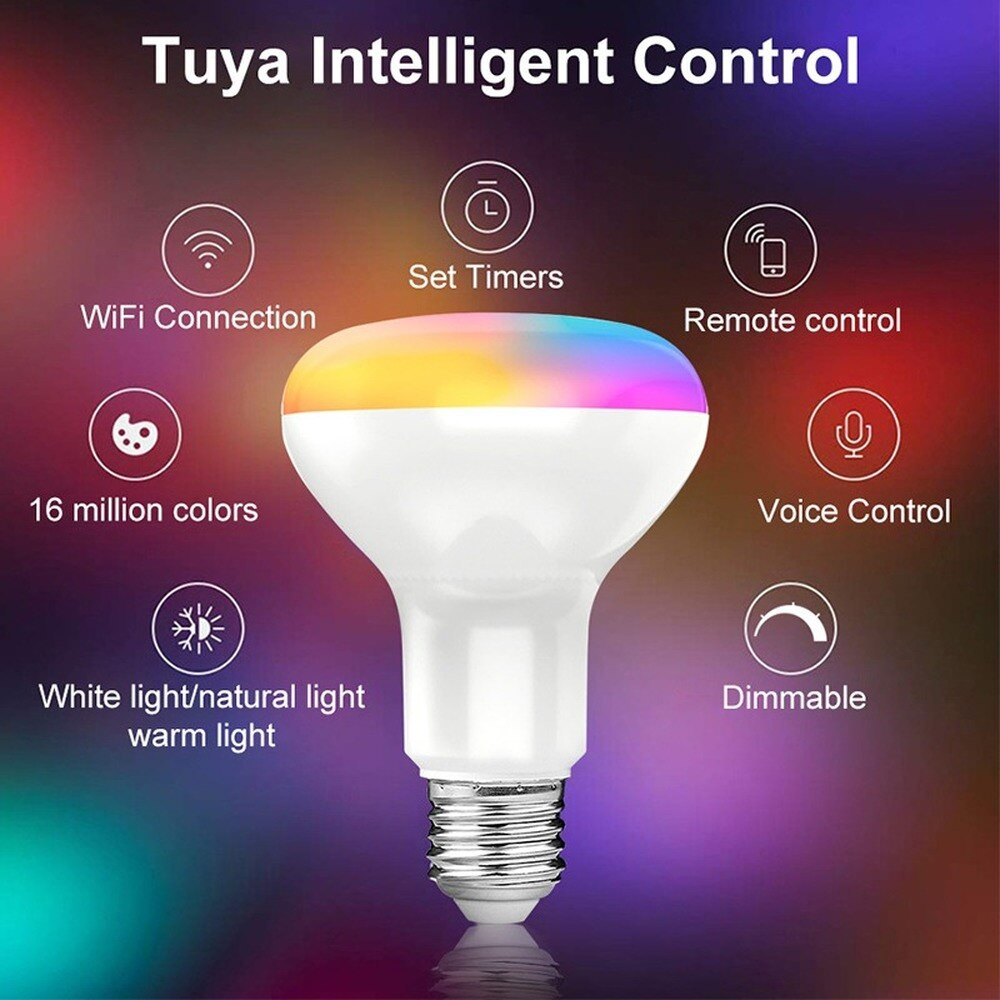 Smart Light Bulb E27 Tuya WiFi LED Bulb RGB Color Changing Lamp Work with Alexa Google Home Smart Life APP Voice Control wifi smart led light bulb dimmable lamp 13w rgb c w smart life tuya app remote control work with alexa echo google home e27