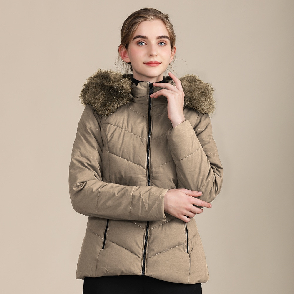Woman Parkas Fur Collar Solid Color Zip Pocket Slim Winter Coat Ladies Casual Thicken Warm Puffer Coat