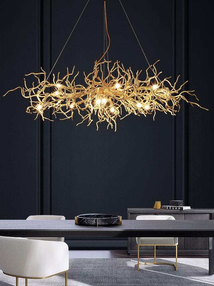 Post-Modern light luxury LED restaurant chandelier decoration Nordic reception lamps simple aluminum art bar tree Chandelier