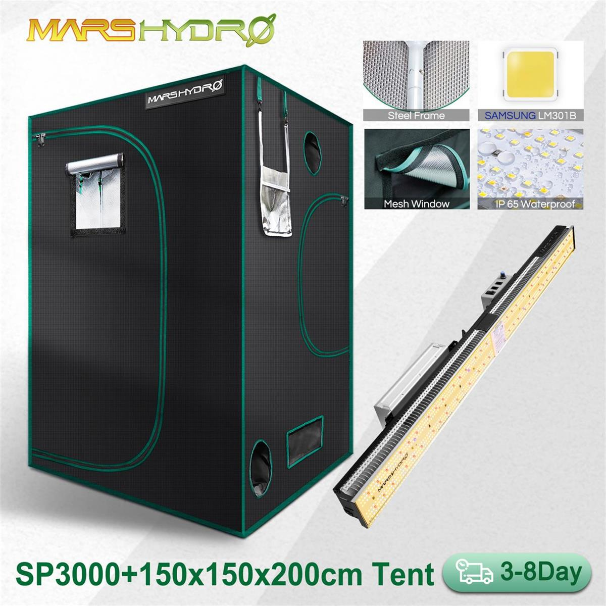 Mars Hydro SP 3000 LED Grow Light And 150x150cm Grow Tent for Indoor Plants Veg Flower Replace HPS/HID Hydroponics Full Spectrum