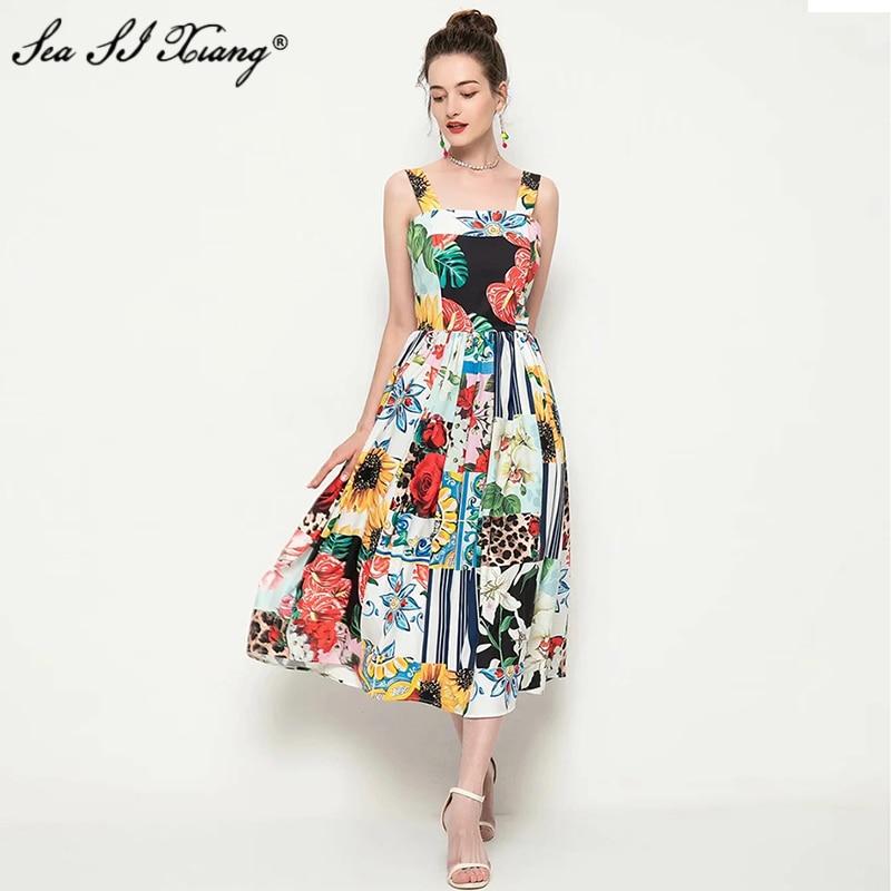Seasixiang-فستان مصمم أزياء نسائي ، فستان عطلة بدون أكمام ، ياقة مائلة ، طباعة الأزهار ، جديد ، 2021