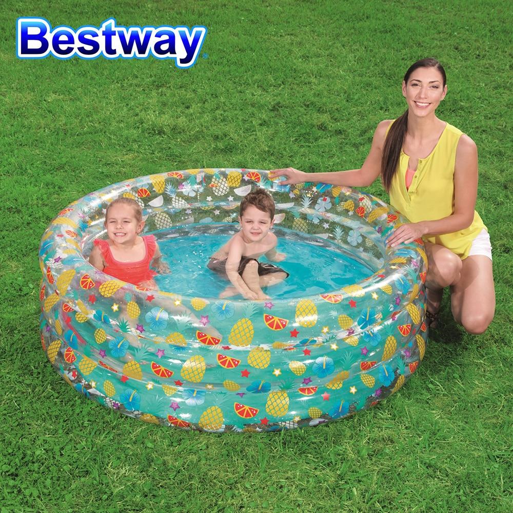 Bestway 51045 دائم في الهواء الطلق شفافة الحياة البحرية بركة نفخ 3 خواتم الاطفال حمام سباحة دائري حجم 150X53 سنتيمتر (59
