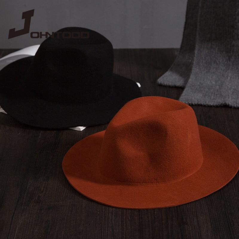 Retro classic felt jazz hat fedora hat with big brim Panama for women men black red top hat Ladies t