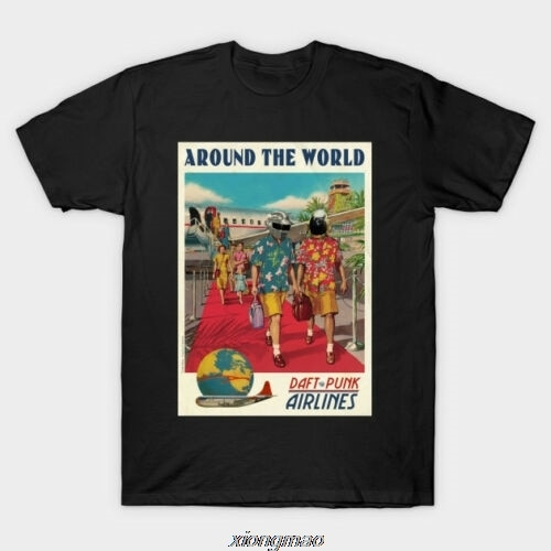 Camisetas negras Daft Punk de todo el mundo para hombres camiseta ropa camiseta manga corta Camiseta de moda