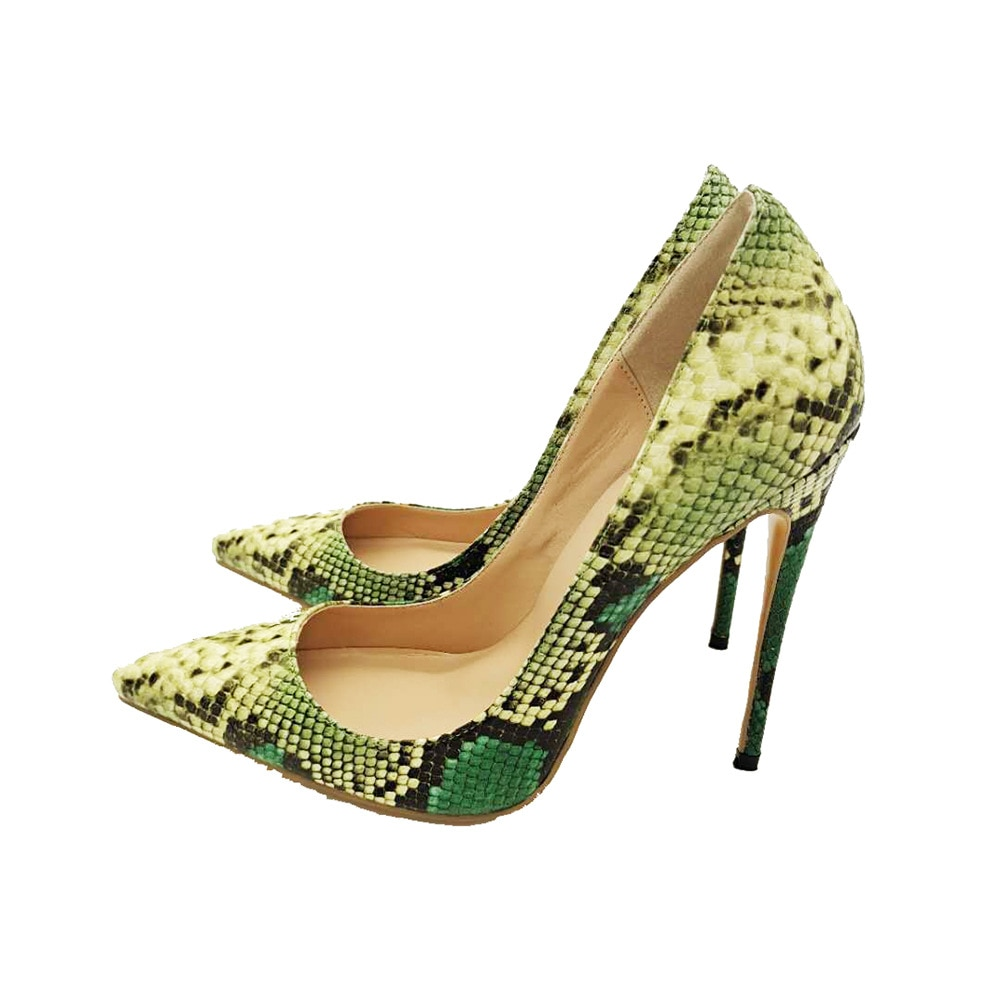 2021 Spring Women's Pumps Classic Single Shoe Pointed Toes Thin Heel High Heels Shoes Woman Green Snake Print Sandals Femininas