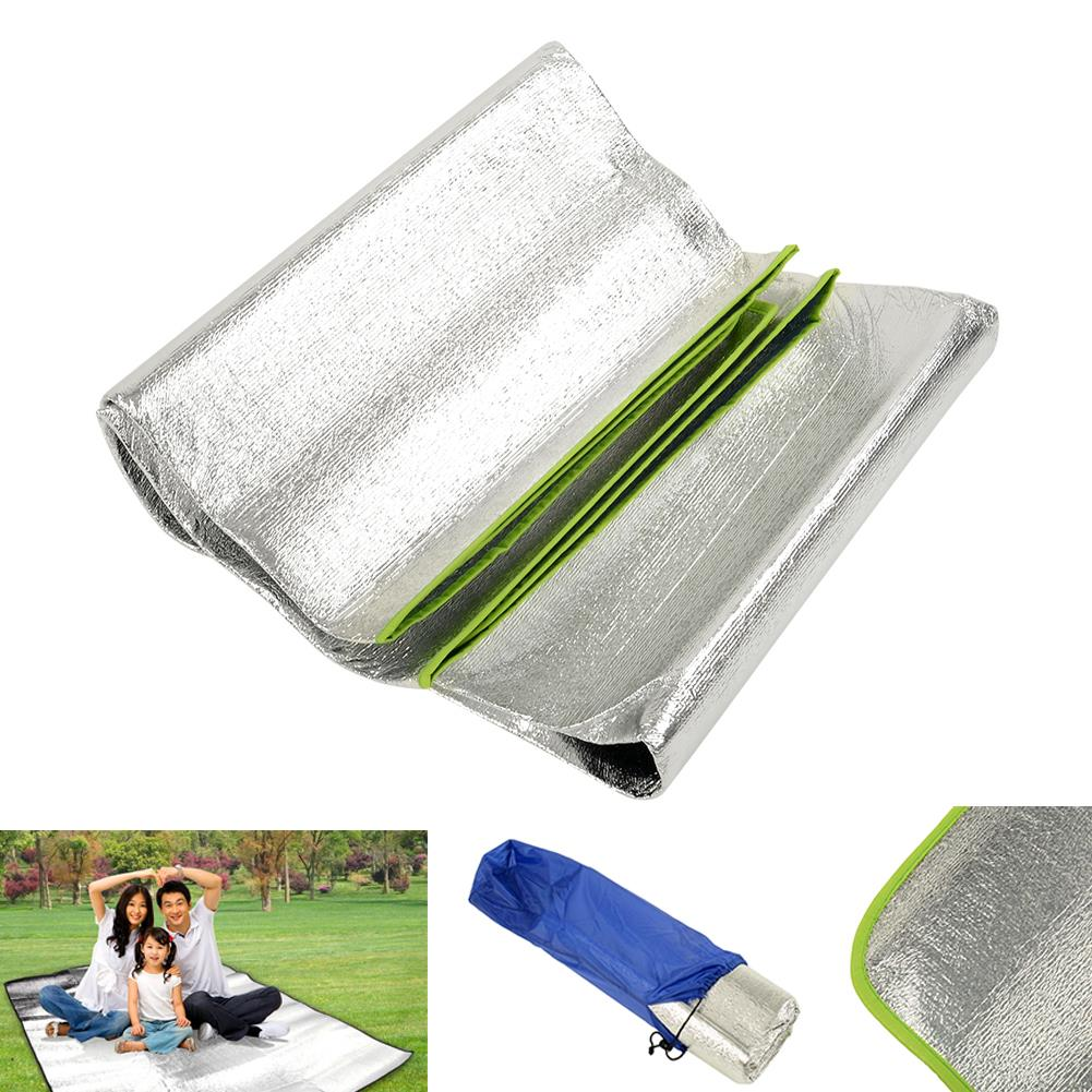 Aluminum Foil Outdoor Travel Picnic Grass Blanket Camping Sleeping Mat Cushion