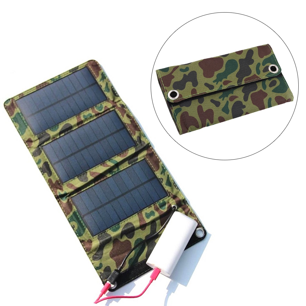 Panel Solar portátil plegable a prueba de agua para exteriores con puerto USB de 5W y 5V, cargador de batería para teléfono