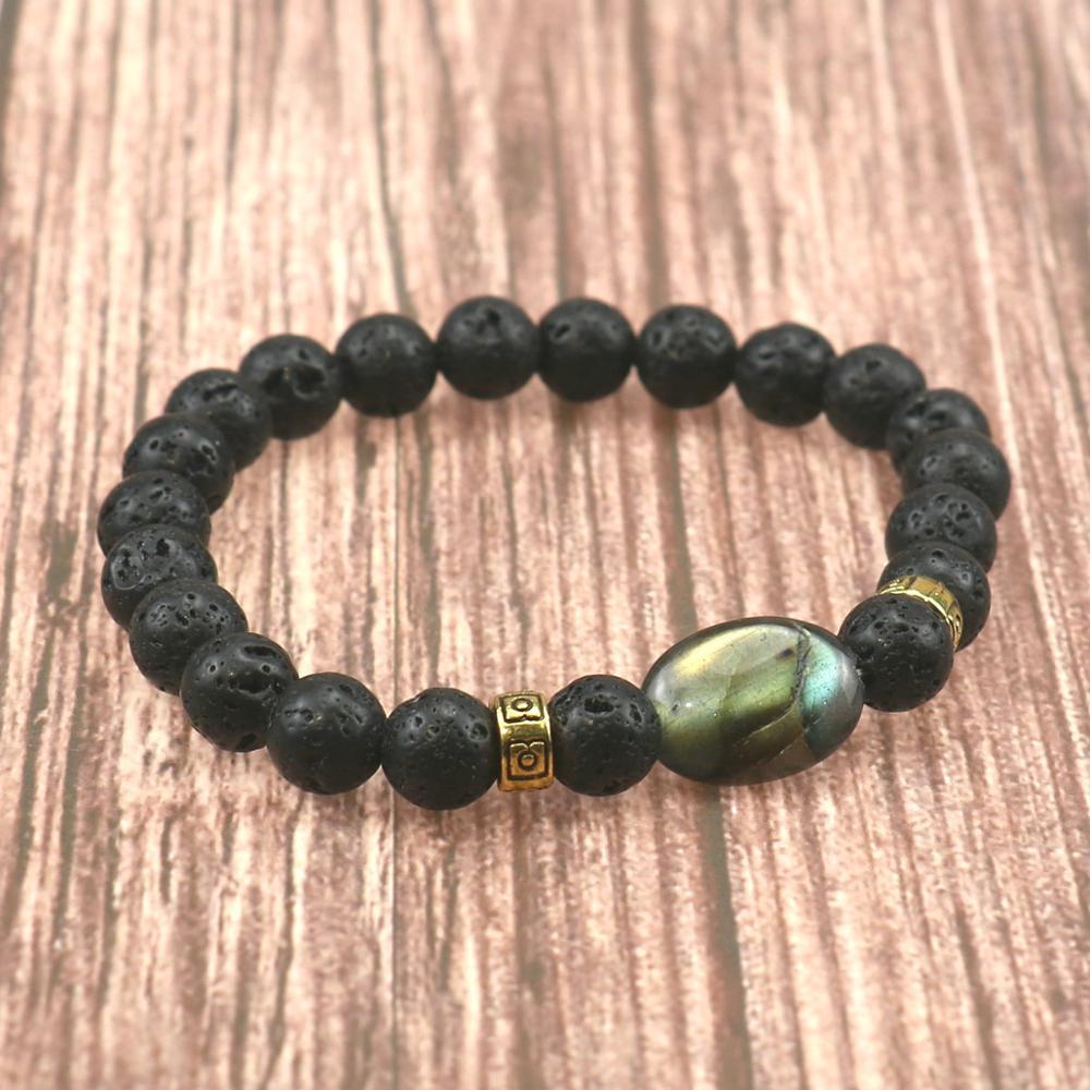 Natur Labradorit Stein Perlen Armband für Männer CROWN Silber Armbänder Yoga Meditation Frauen Hämatit Armband Schmuck
