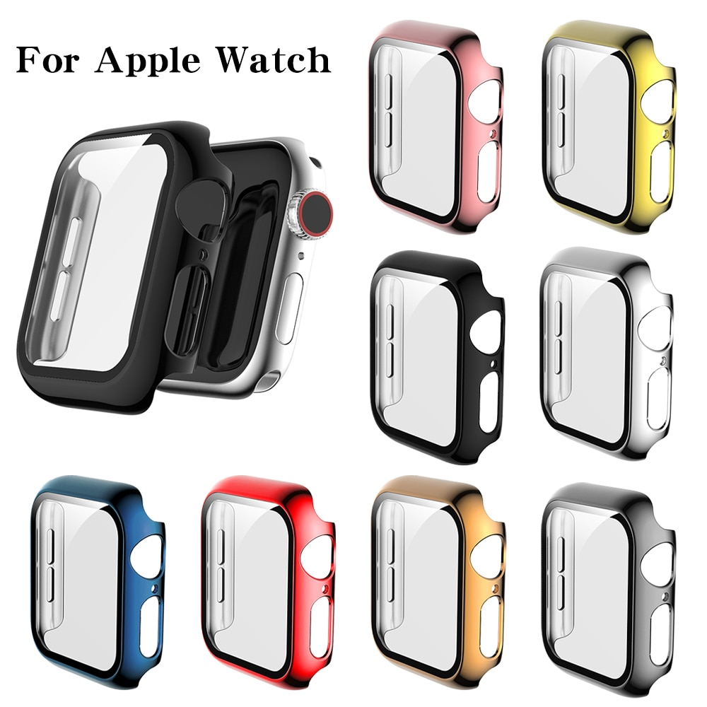 Funda protectora de cristal + funda completa para Apple Watch, accesorio para...