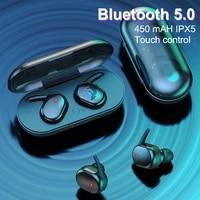 y30 tws blutooth earphones wireless touch tws 5 0 sports bluetooth headphones waterproof headset for smartphones charging box