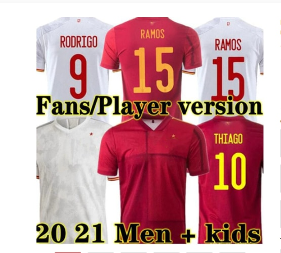 Fã e jogador versão fooball t camisa 20 21 espana homem xani alta qualidade kits jerseys crianças a. iniesta terno