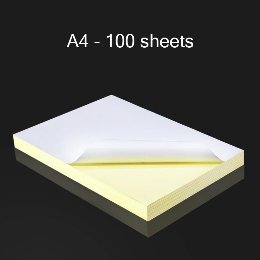 100 blätter A4 Laser Inkjet Drucker Kopierer Handwerk Papier White Self Adhesive Aufkleber Label Matte Glänzend Kraft Papier Büro Liefert