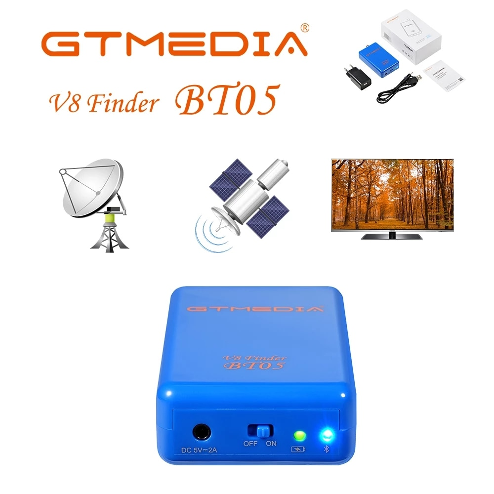 V8 مكتشف BT05 GTmedia DVB مكتشف DVB-S2 المدمج في بطارية ليثيوم 2200mAh دعم LNB BT دعم أندرويد/IOS