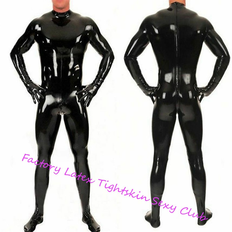 اللاتكس Catsuit الأسود الجبهة زيبر اللاتكس بدلة للجسم Unitard مثير تصفح Zentai عموما اللاتكس Catsuit قدم قفازات وجوارب المطاط catsuit