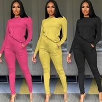 plsw women long sleeve two 2 piece sets slim casual solid o neck women pant set fashion office casualwear autumn set
