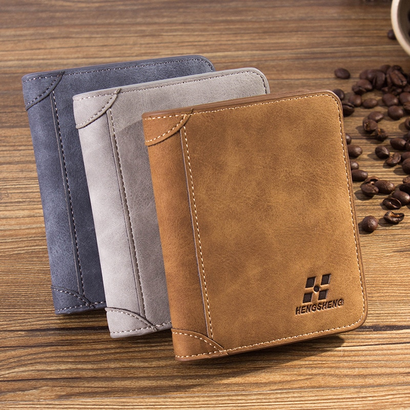 Men's Leather Wallet Credit Card Holder Clutch Coin Purse Luxury Brand Wallet Frosted Short Wallets