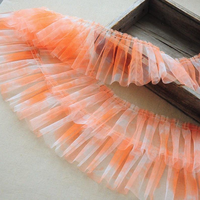 2 yardas Ombre Ruffled recorte de encaje de tul, gradiente Pleaded ribete de encaje de malla, ribete de encaje Arco Iris para vestido de tutú, Cosplay, vestido de baile,