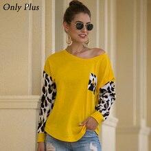 Apenas mais quente das mulheres t camisa amarelo retalhos leopardo manga solta escritório senhora primavera outono tops camisa de manga longa feminino topo